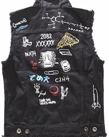 Men's Fashion Black Denim Biker Vests
