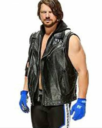AJ Styles WWE Leather Vest with Hoodie