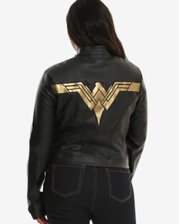 Justice League Wonder Woman Gal Gadot Real Leather Black Jacket