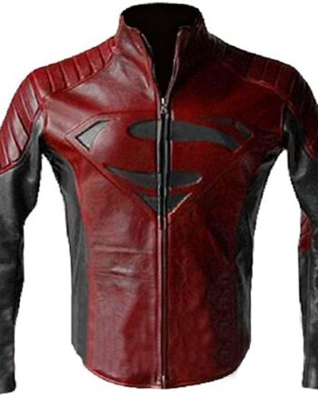 Mens Superhero Man of Steel Superman Costume Quilted Biker Leather Jacket