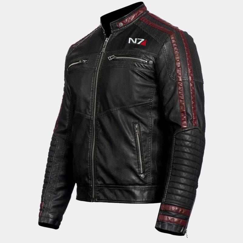 N7 Commander Shepard Gaming Motorcycle Black Real Sheepskin Leather Jacket