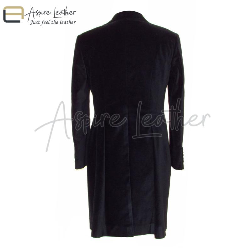 Peter Capaldi Velvet Frock Style 12th Doctor Black Coat