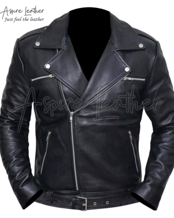 Negan Police Style Motorcycle Leather Jacket